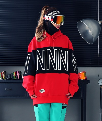 1920 NNN - TWO COLOR - HOOD - 레드+블랙